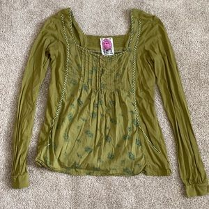 Free People Long Sleeve Green Top